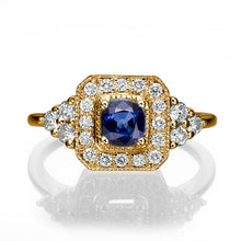 "Load image into Gallery viewer, 0.84 TCW 14K Yellow Gold Bluse Sapphire ""Danna"" Engagement Ring - Diamonds Mine"