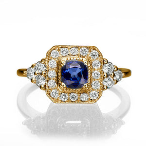 "0.84 TCW 14K Yellow Gold Bluse Sapphire ""Danna"" Engagement Ring - Diamonds Mine"