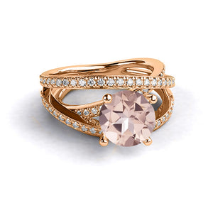 "2.9 Carat 14K Yellow Gold Morganite & Diamonds ""Victoria"" Engagement Ring"