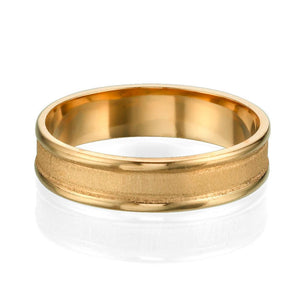 5MM 14K Yellow Gold Beveled Edges Men Wedding Band
