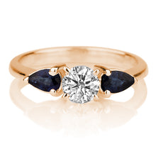 "Load image into Gallery viewer, 1.5 Carat 14K Rose Gold Moissanite & Sapphire ""Eleanora"" Engagement Ring"