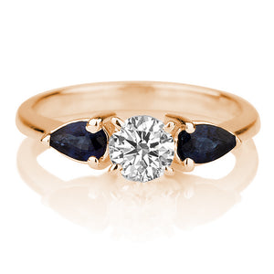 "1.5 Carat 14K Rose Gold Moissanite & Sapphire ""Eleanora"" Engagement Ring"