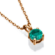 "Load image into Gallery viewer, 0.3 Carat 14K Yellow Gold Emerald ""Nina"" Pendant"