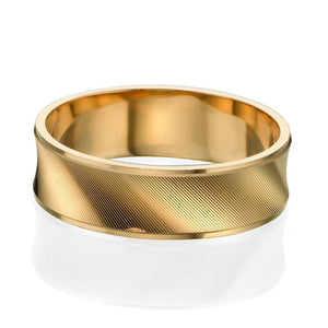 6MM 14K Yellow Gold Concave Diamond Cut Men Wedding Band