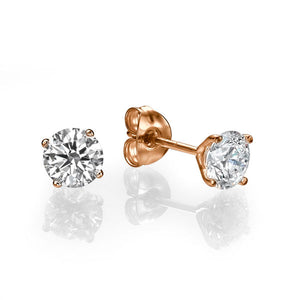 "1 TCW 14K Yellow Gold Diamond ""Una"" Earrings"