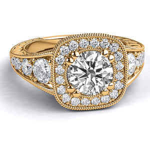 "1.8 Carart 14K Yellow Gold Moissanite & Diamonds ""Elizabeth"" Engagement Ring"