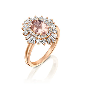 "1.75 Carat 14K Yellow Gold Oval Morganite & Diamonds ""Gatsby"" Engagement Ring"