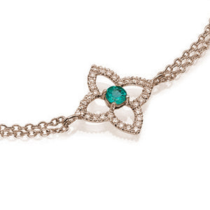 0.6 TCW 18K Yellow Gold Emerald Flower Bracelet