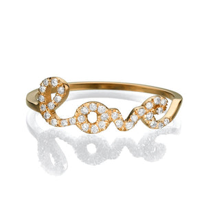 0.11 TCW 14K Yellow Gold Diamond Love Ring