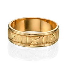 Load image into Gallery viewer, 6.5MM 14K Yellow Gold Roman Numerals Men Wedding Band