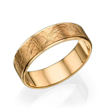 Load image into Gallery viewer, 6MM 14K Rose Gold Unique Pattern Hand Carved Men Wedding Band