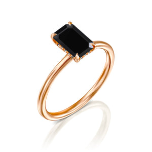 "1.5 Carat 14K Yellow Gold Black Diamond ""Catherine"" Ring"