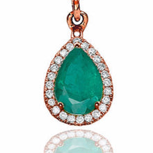 "Load image into Gallery viewer, 2 Carat 14K White Gold Emerald & Diamonds ""Francie"" Earrings 