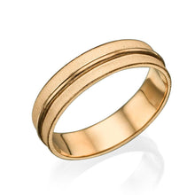 Load image into Gallery viewer, 14K Rose Gold Satin Finish With Shiny Center Men Wedding Band