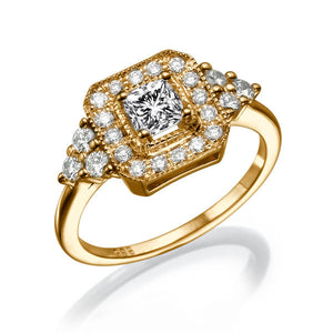 "0.7 Carat 14K Rose Gold Moissanite & Diamonds ""Ciara"" Engagement Ring"