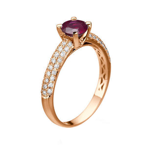 "1.3 Carat 14K White Gold Ruby & Diamonds ""Carmen"" Engagement Ring"