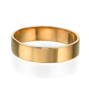 5MM 14K Yellow Gold Classic Shiny Men Wedding Band