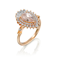 "Load image into Gallery viewer, 2 Carat 14K White Gold Pear Morganite & Diamonds ""Gatsby"" Engagement Ring"