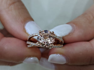 "2.5 Carat 14K Rose Gold Morganite & Diamonds ""Victoria"" Engagement Ring"