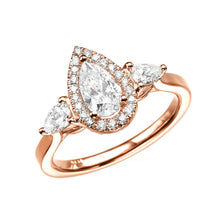 "Load image into Gallery viewer, 1.7 Carat 14K Rose Gold Moissanite & Diamonds ""Malorie"" Engagement Ring"