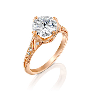 "2.1 Carat 14K Yellow Gold Moissanite & Diamonds ""Patricia"" Engagement Ring"