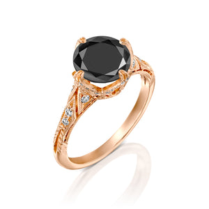 "4.2 Carat 14K Yellow Gold Black Diamond ""Patricia"" Engagement Ring"