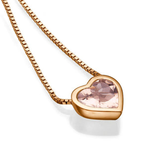 "1.5 TCW 14K Yellow Gold Morganite ""Heart"" Pendant"