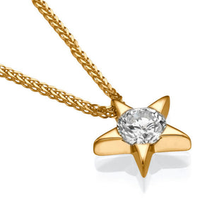 0.3 Carat 14k Yellow Gold Diamond Star Pendant