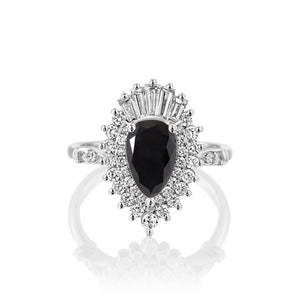 2.2 Carat 14K White Gold Black Diamond Pear