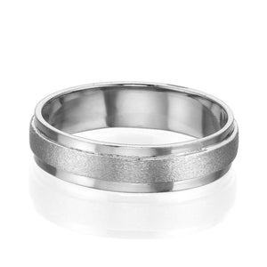 5MM 14K White Gold Satin Center Men Wedding Band