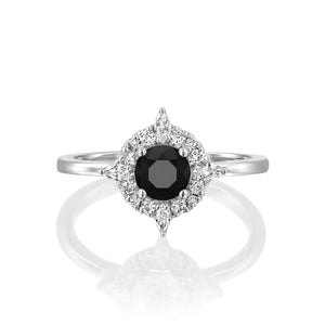 "1 Carat 14K Yellow Gold Black Diamond ""Daisy"" Engagement Ring"