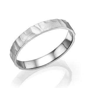 3.5MM 14K White Gold Gentle Hammered Wedding Band