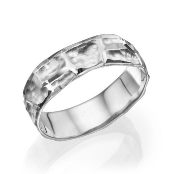 14K White Gold Scorched Style Men Wedding Band