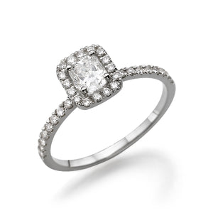 "0.9 Carat 14K White Gold Moissanite & Diamonds ""Andrea"" Engagement Ring"