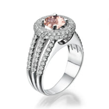 "Load image into Gallery viewer, 2.75 Carat 14K White Gold Morganite & Diamonds ""Lena"" Engagement Ring"