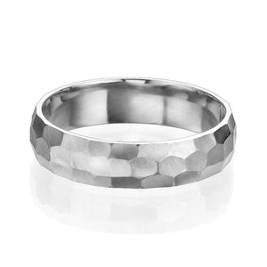 5MM 14K White Gold Hammered Style Men Wedding Band