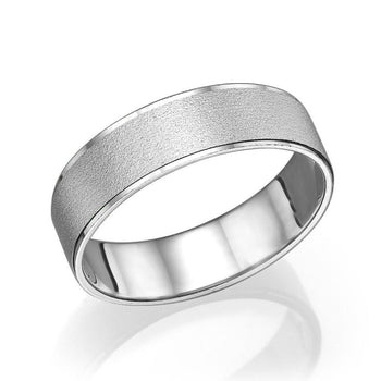 5.8MM 14K White Gold Satin Finish Men Wedding Band
