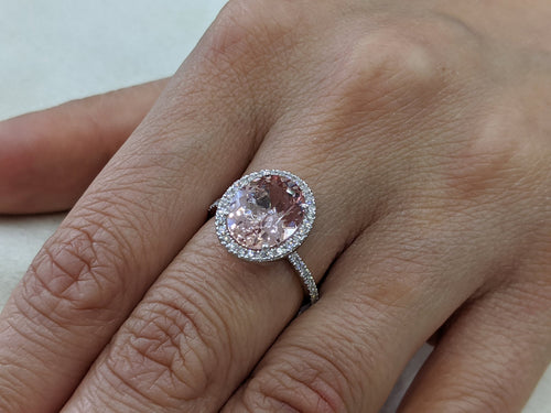 3.5 Carat 14K White Gold Morganite & Diamonds