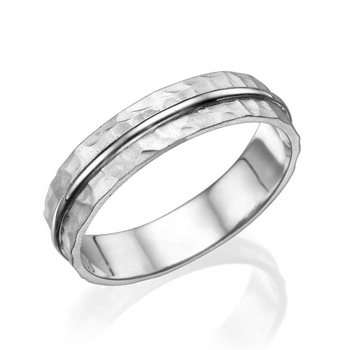 3.8MM 14K White Gold Simple Classic Men Wedding Band