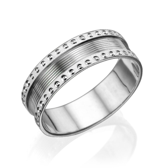 6.25MM 14K White Gold Screw Pattern Edges Men Wedding Band