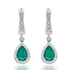 "2 Carat 14K Yellow Gold Emerald & Diamonds ""Francie"" Earrings"