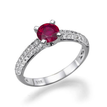1.3 Carat 14K White Gold Ruby & Diamonds
