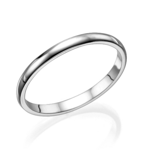 2MM 14K White Gold Classic Men Wedding Band