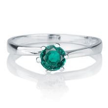 "Load image into Gallery viewer, 0.3 Carat 14K White Gold Emerald ""Cheryl"" Engagement Ring"