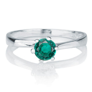 "0.3 Carat 14K White Gold Emerald ""Cheryl"" Engagement Ring"