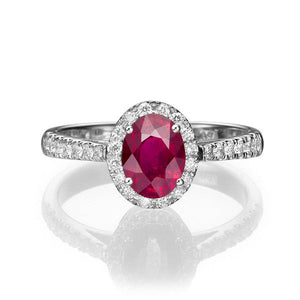 "1.3 Carat 14K Yellow Gold Ruby & Diamonds ""Sheryl"" Engagement Ring"