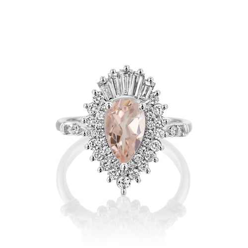 2 Carat 14K White Gold Pear Morganite & Diamonds