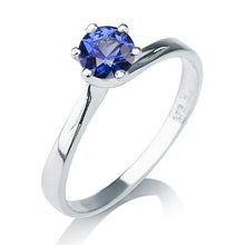"Load image into Gallery viewer, 0.3 Carat 14K White Gold Blue Sapphire ""Chelsea"" Engagement Ring"