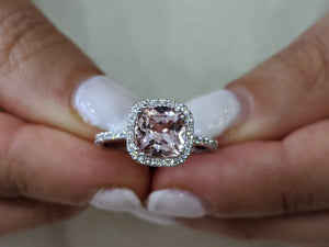 "2 Carat 14K White Gold Morganite & Diamonds ""Andrea"" Engagement Ring"