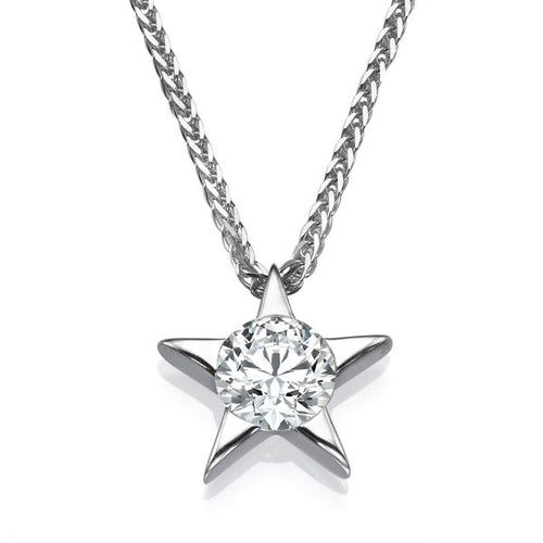 0.3 Carat 14k White Gold Diamond Star Pendant